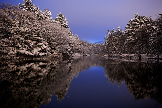 冬の雲場池の夕方