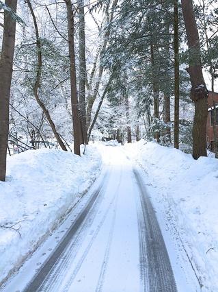 雪の水車の道