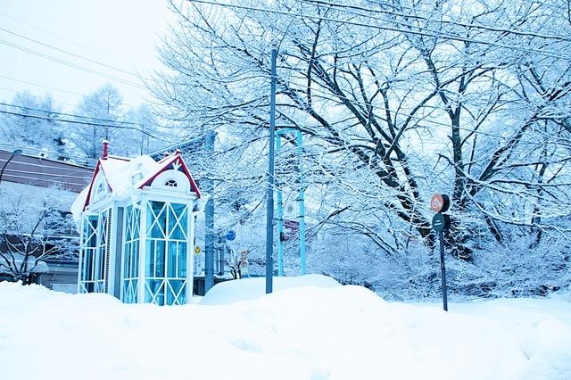 雪の旧軽井沢ロータリー