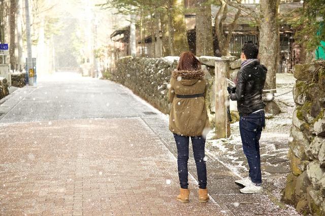 軽井沢、今シーズン初の雪03
