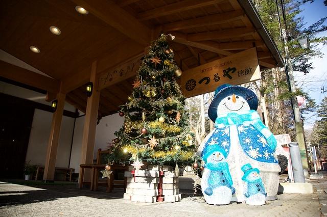つるや旅館の雪だるまとクリスマスツリー01